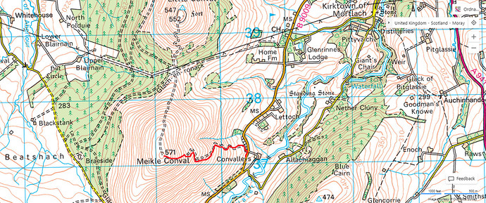 Meikle Conval route map