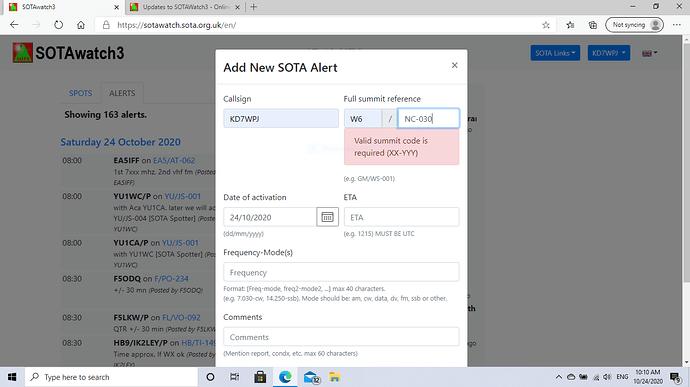 Capture_Unable to post SOTA alert