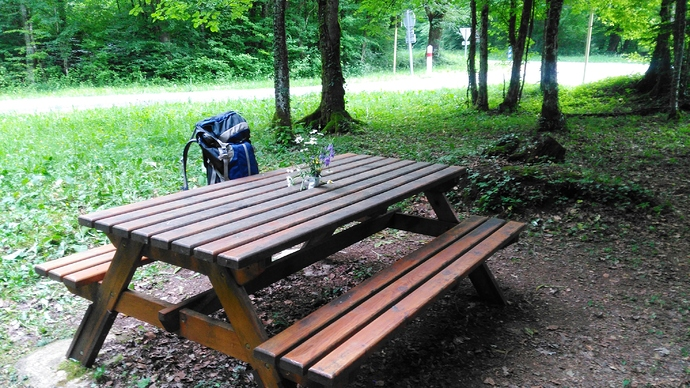 Picnic table to work from on FL-NO-059