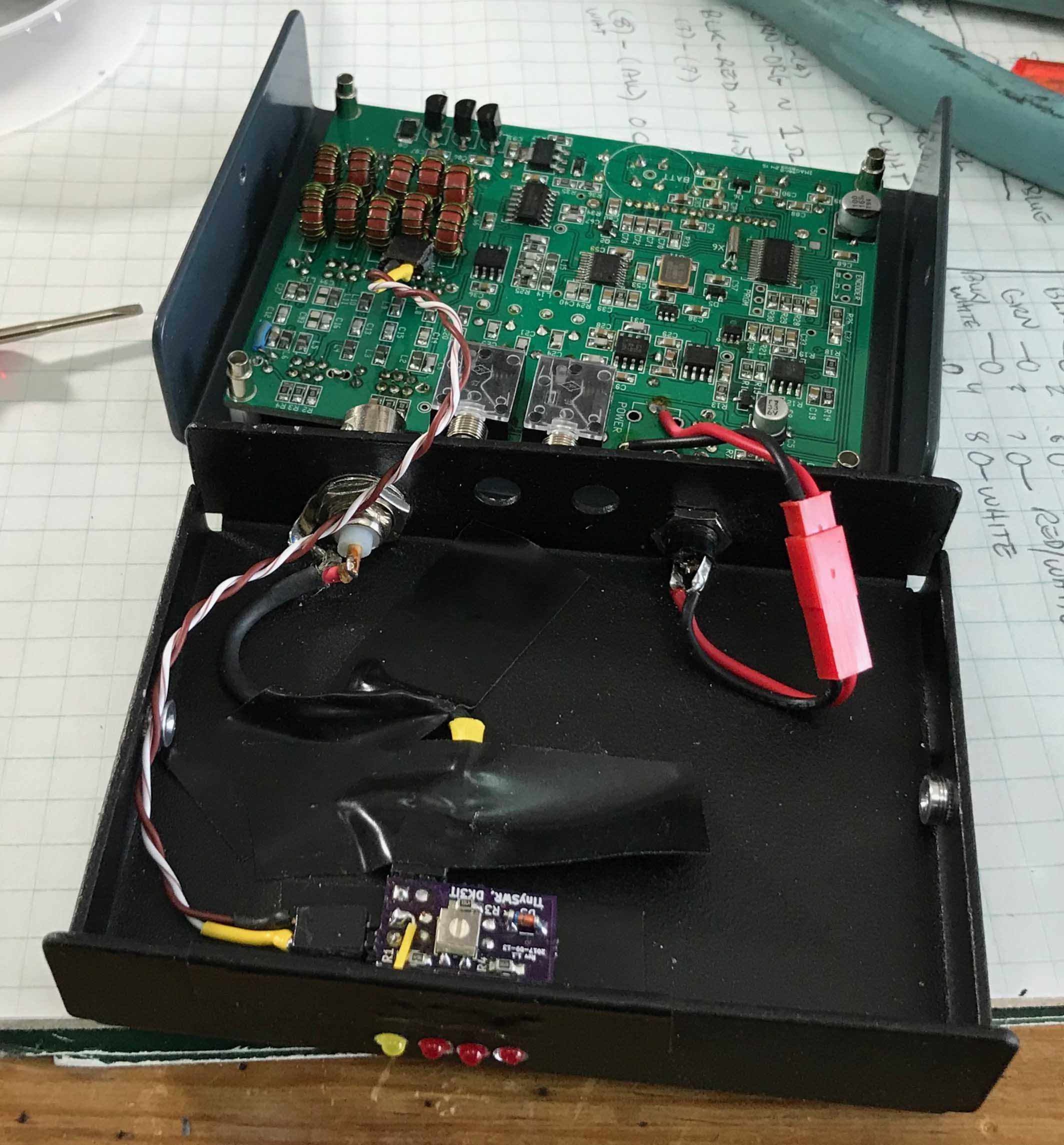 Ultralight Swr Indicator Equipment Sota Reflector Ledswrindicatorcircuit Measuringandtestcircuit Circuit The Leds Are A Little Dim But Bright Enough All That Is Needed Assurances Radio And Antenna Working Properly This Does It